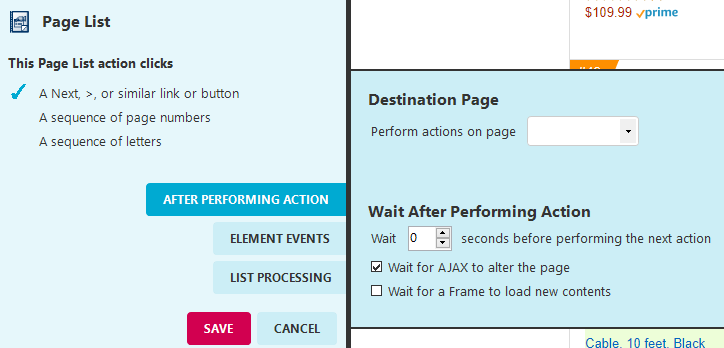 How do I set a page actions to wait for AJAX_Image2(1)