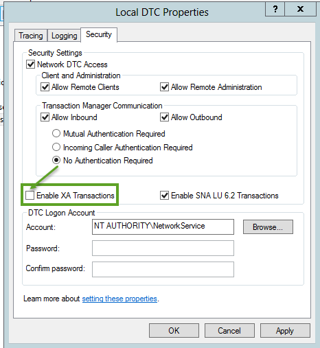 Configure MSDTC On The Stand-Alone Server - Settings