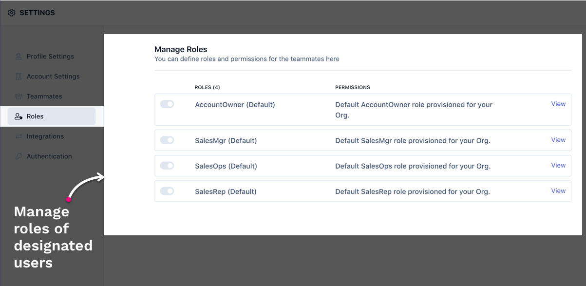 Use RevvSales Role page to create roles and provide permissions.