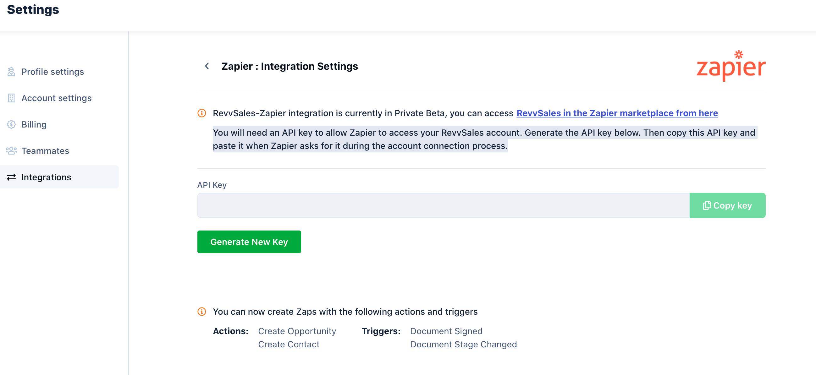 RevvSales Zapier Integration Settings