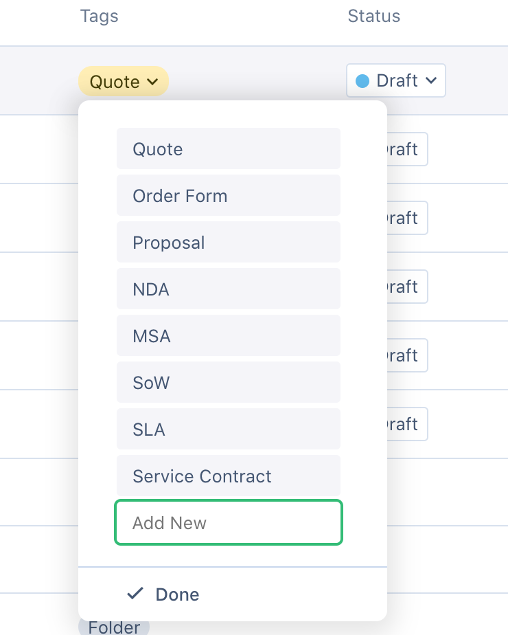 Create new tag allows you to create tags. Hover over the document, then click create tags.