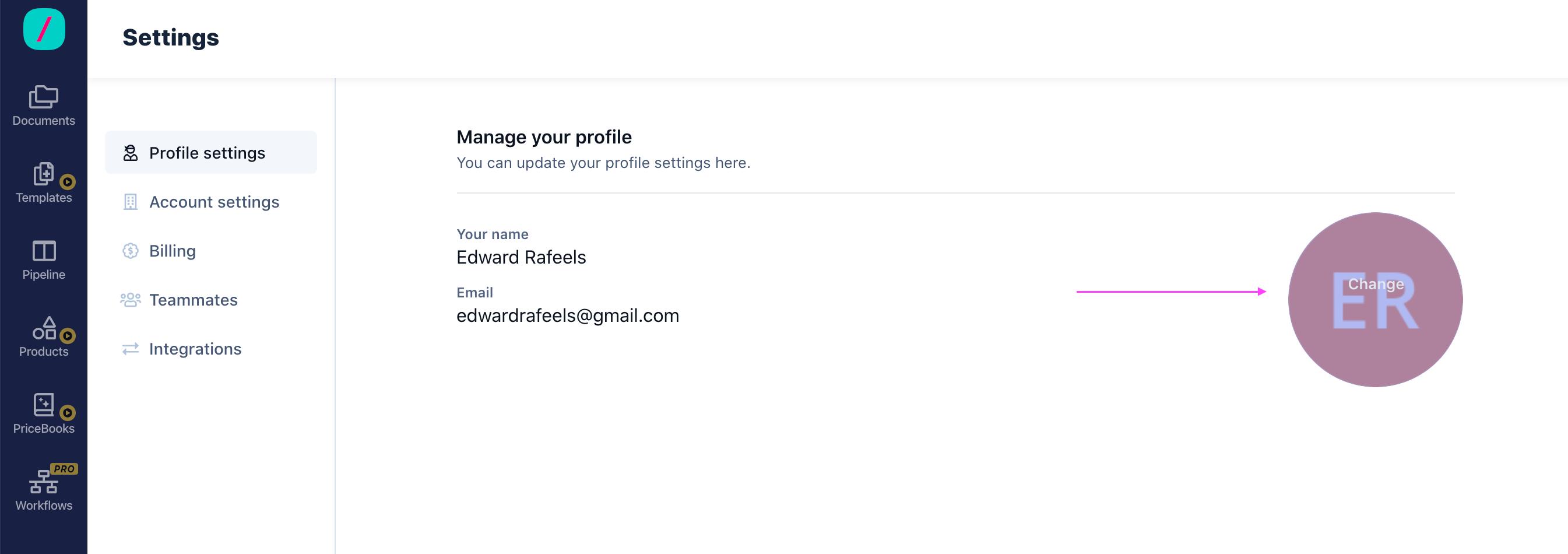Revv Profile Settings