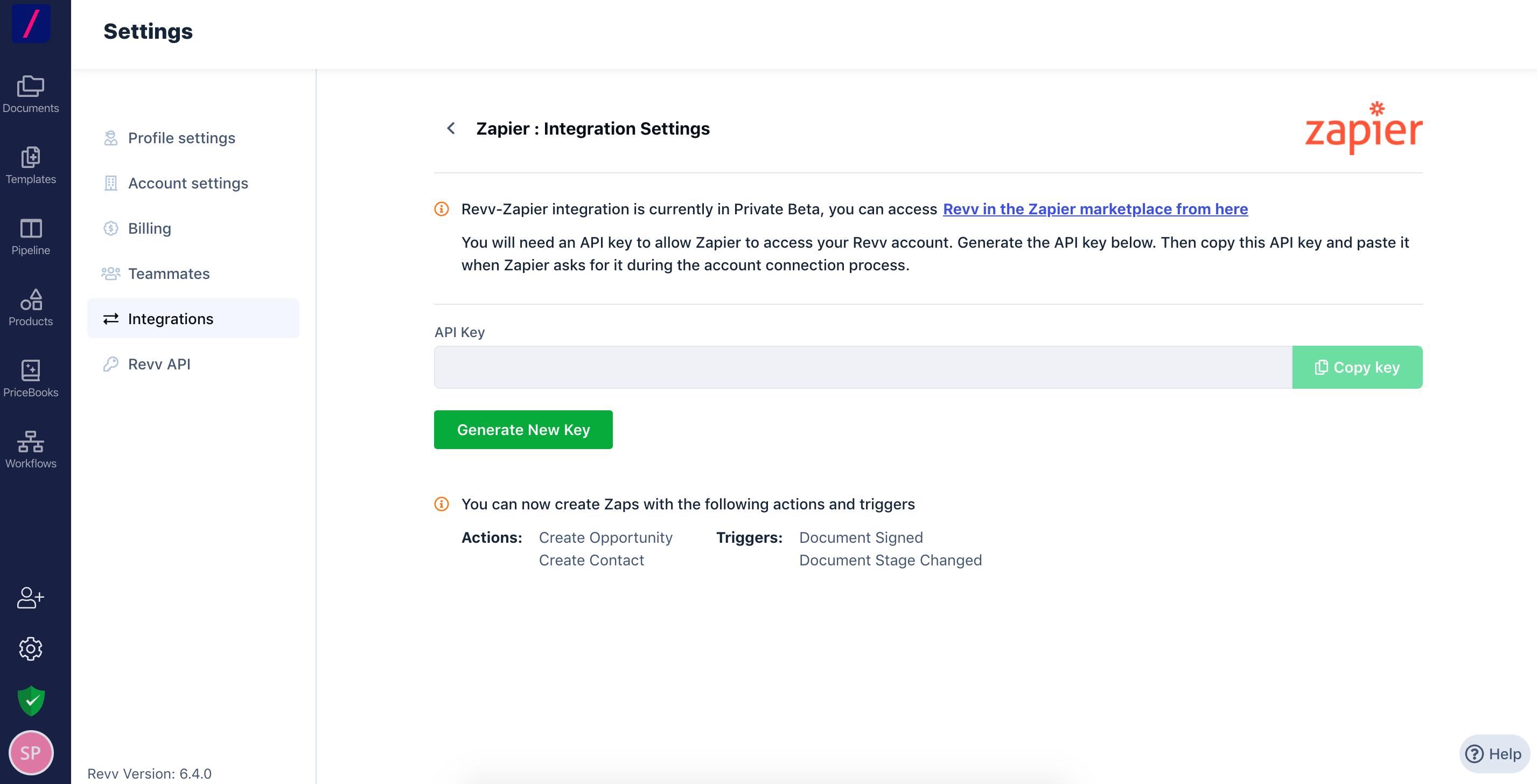 Revv Zapier Integration Settings