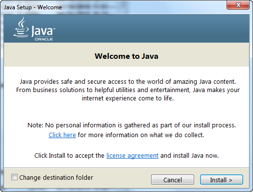 Oracle Java Runtime Environment - Applications