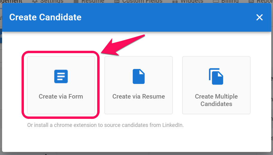 Creating a Candidate bis 5