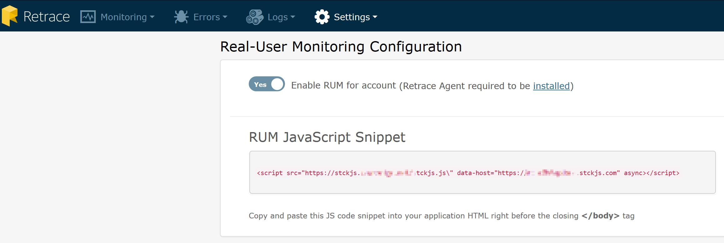 RUM Configuration