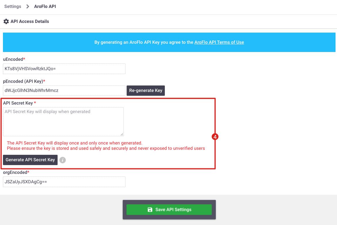 GP Aroflo - Configuring Connection_v7.19_API Secret Key