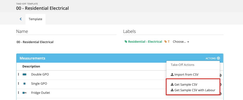 GP Importing Take-off templates v8x - Get Sample CSV 2