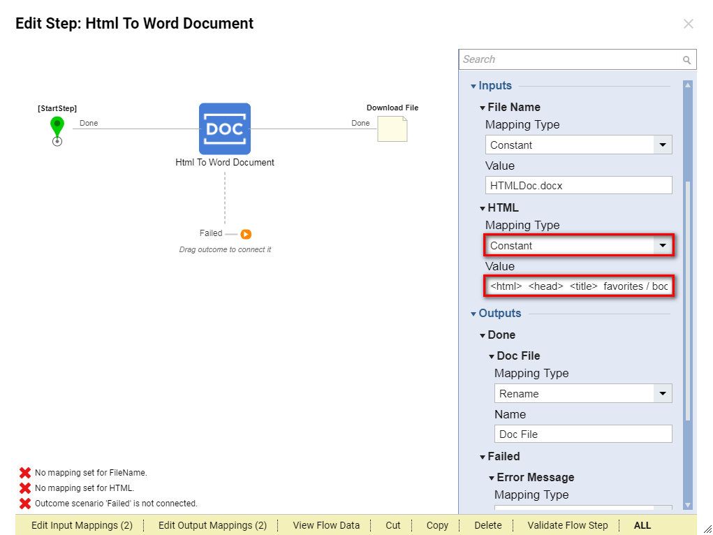 HTML to Word Document Step - Files