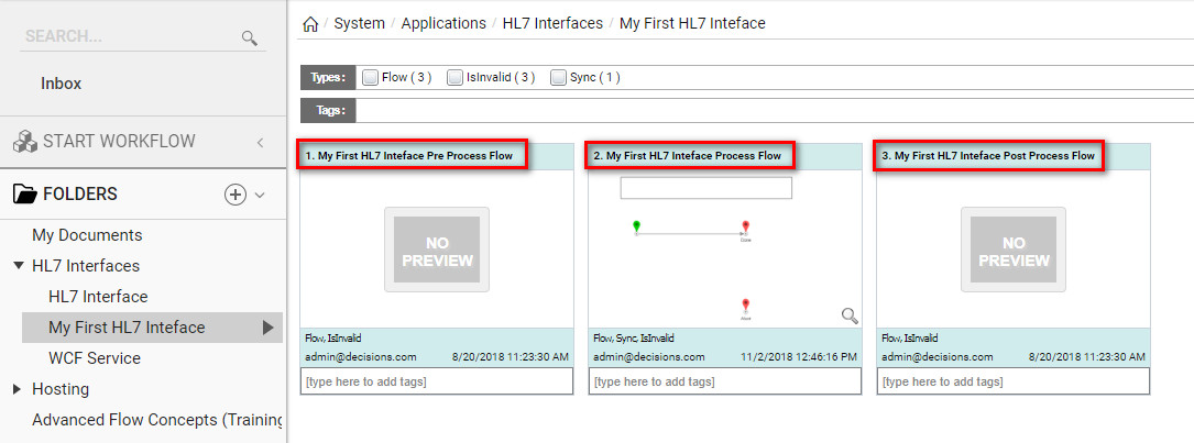 HL7 Modules Receiving and Processing Messages - HL7 Flow