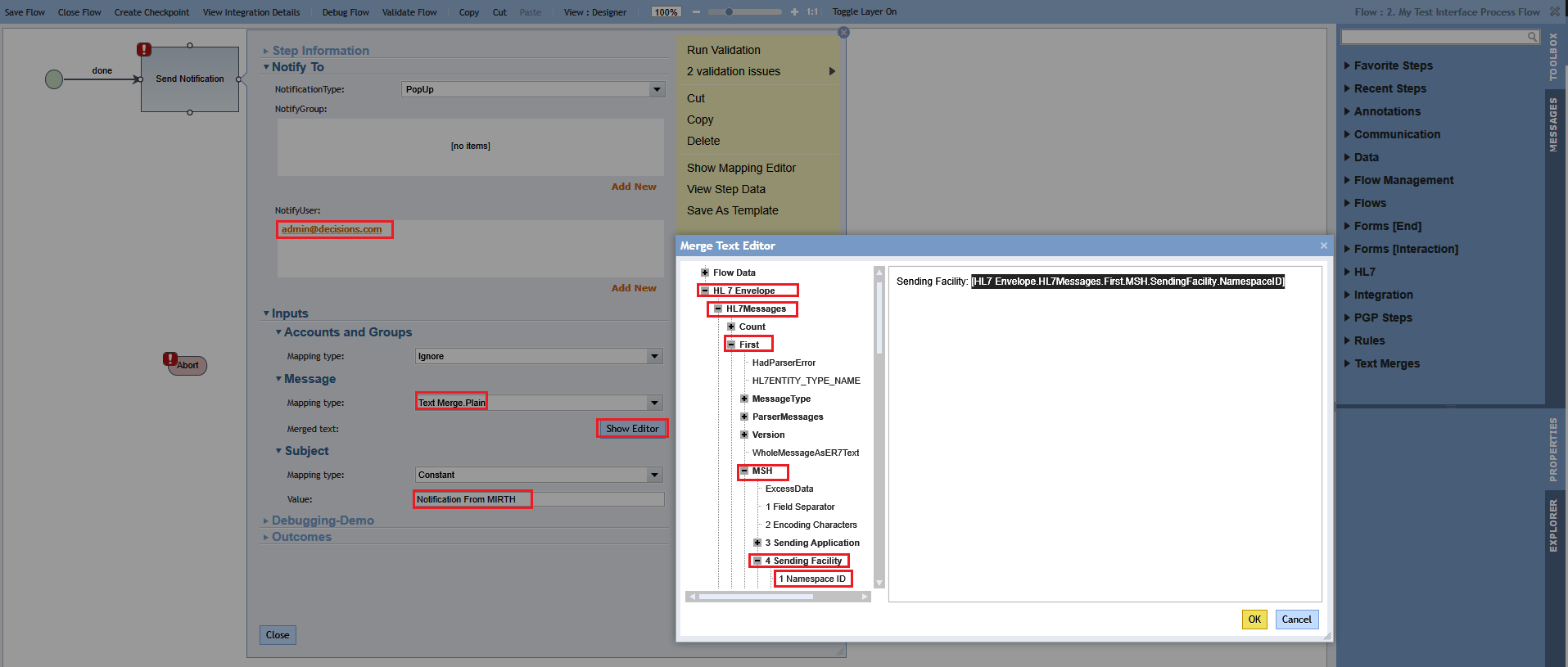Sending Messages from Mirth to Decisions HL7 Module - HL7 Flow