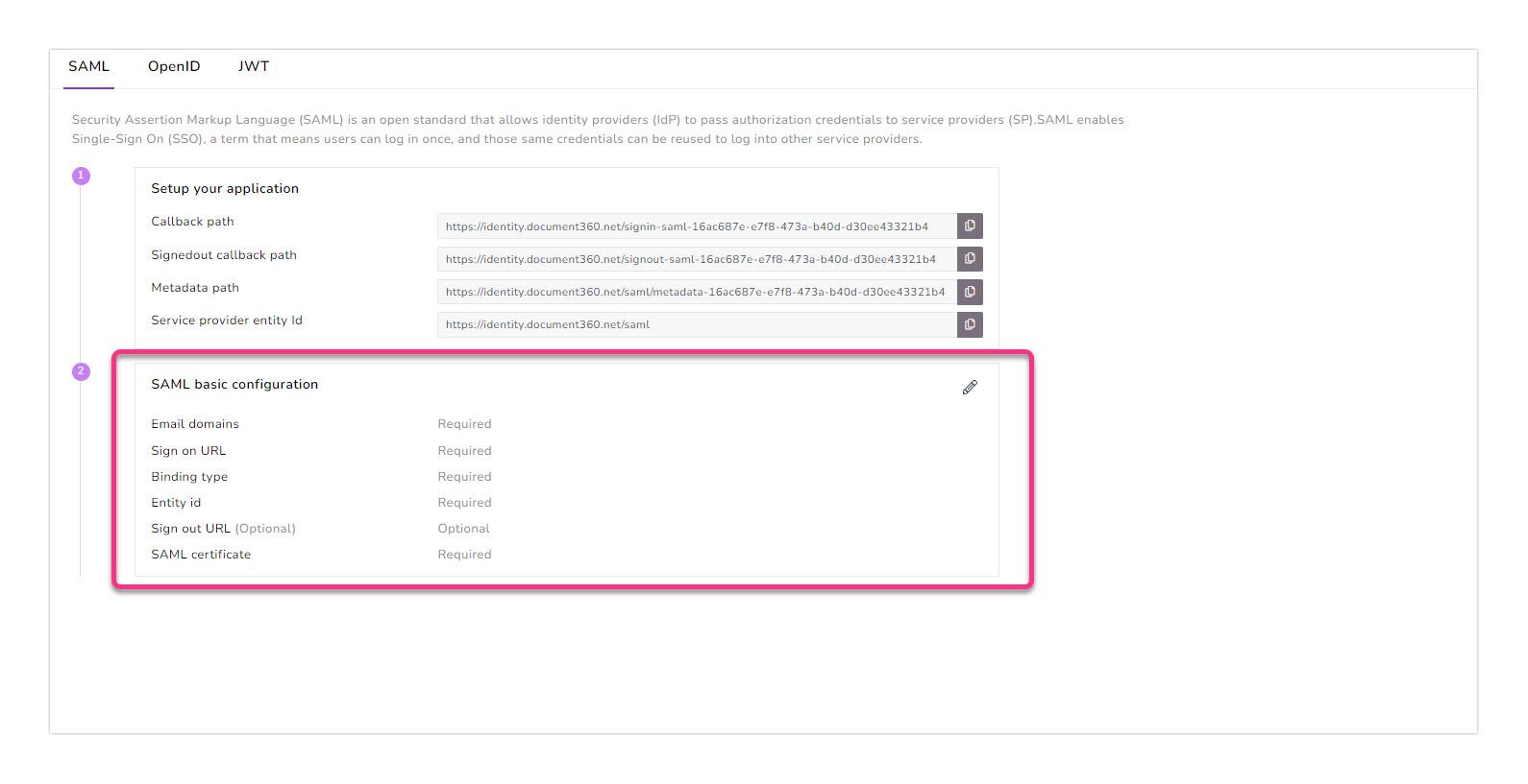 11_Screenshot-SAML-basic-configuration-parameters-in-Document360