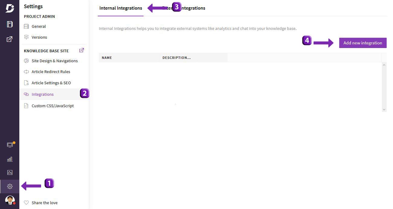 3 Screenshot - Document360 integration page for intercom