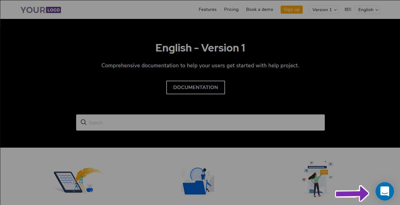 6 Screenshot - Document360 page after intercom chat integration