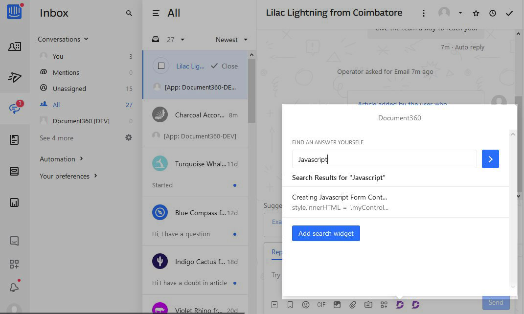8 Screenshot - Intercom chat response window- search and share articles