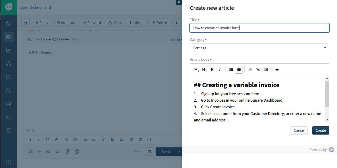 9 Screenshot - Freshdesk create articles markdown editor