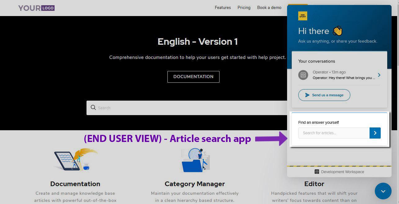 9 Screenshot - Intercom chat response window- Find answer yourself Customer side