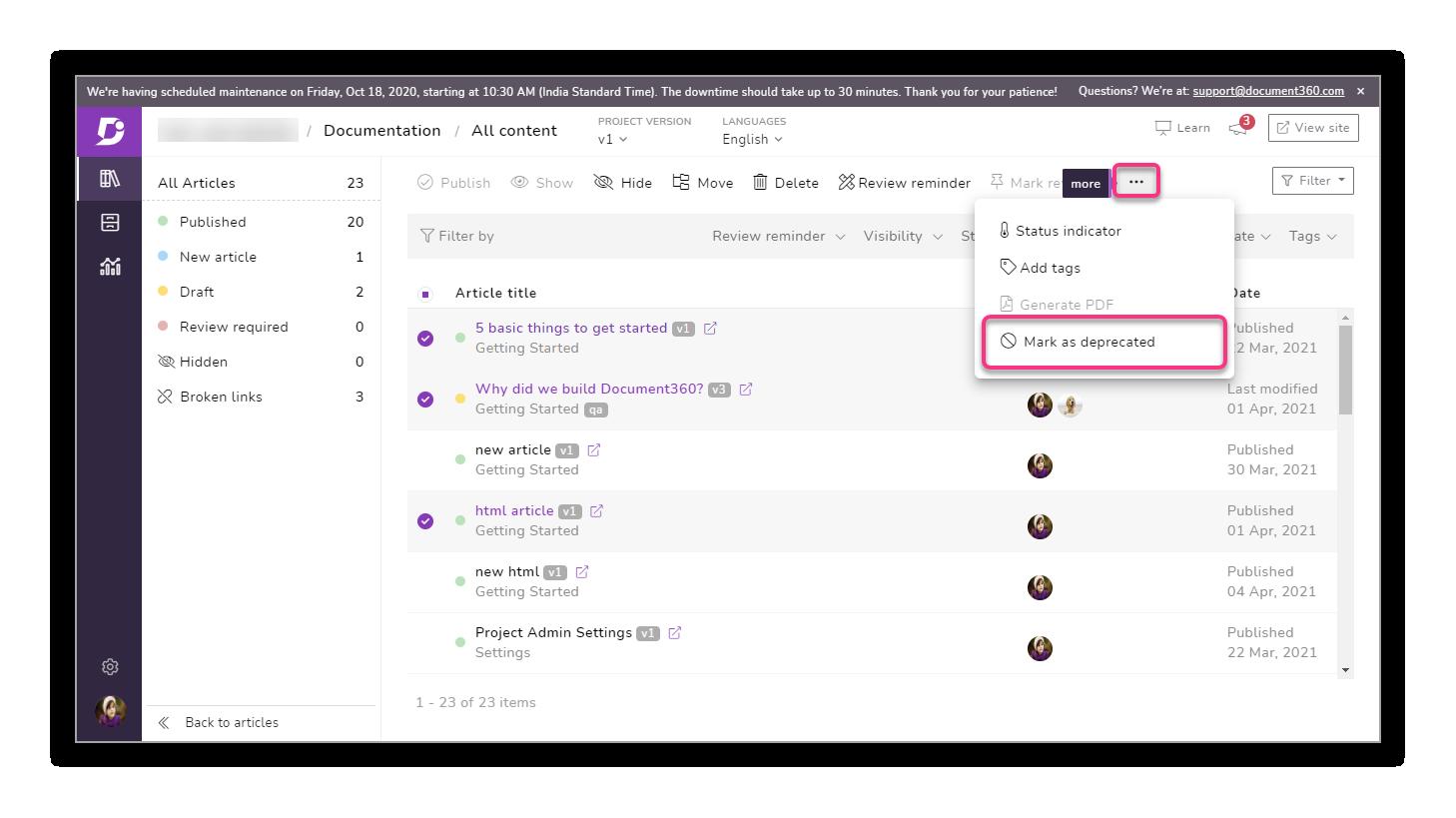 9_Screenshot_Mark_as_deprecated_in_all_content_bulk