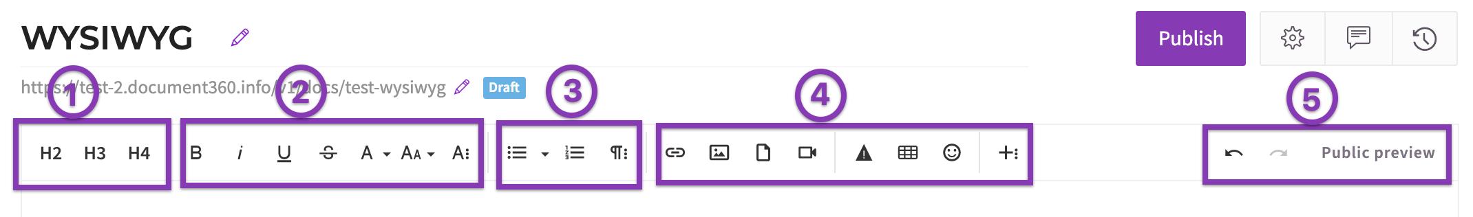 WYSIWYG Toolbar simplified