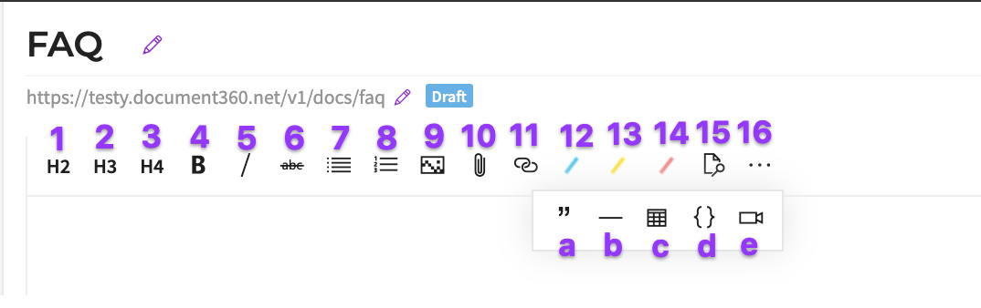markup toolbar