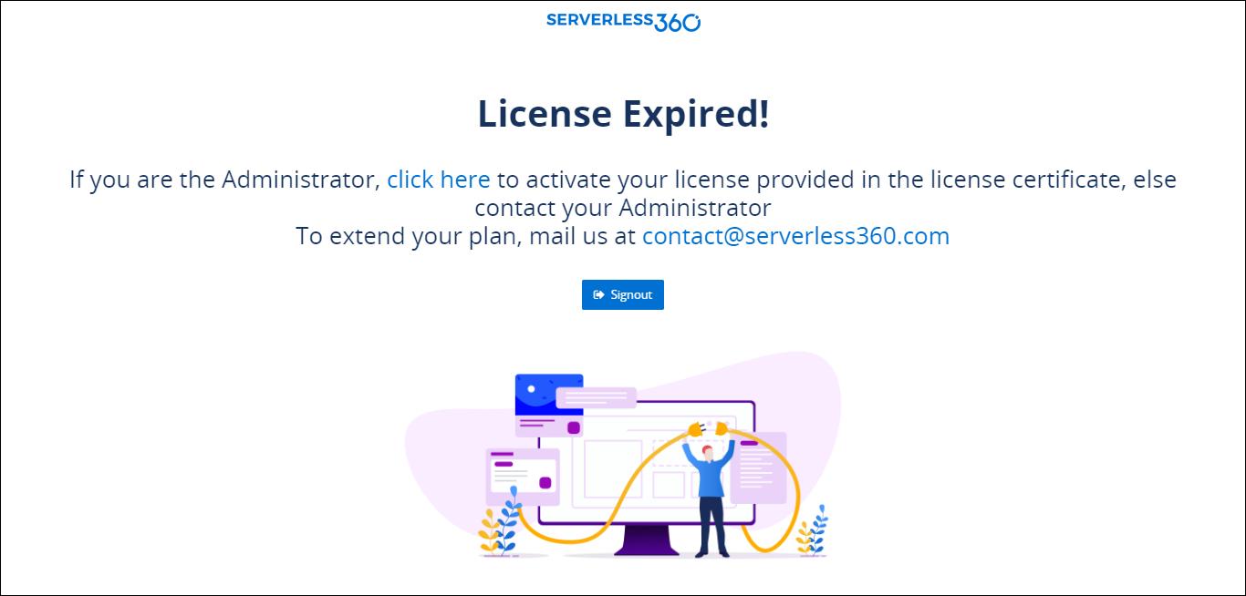 License expiry screen