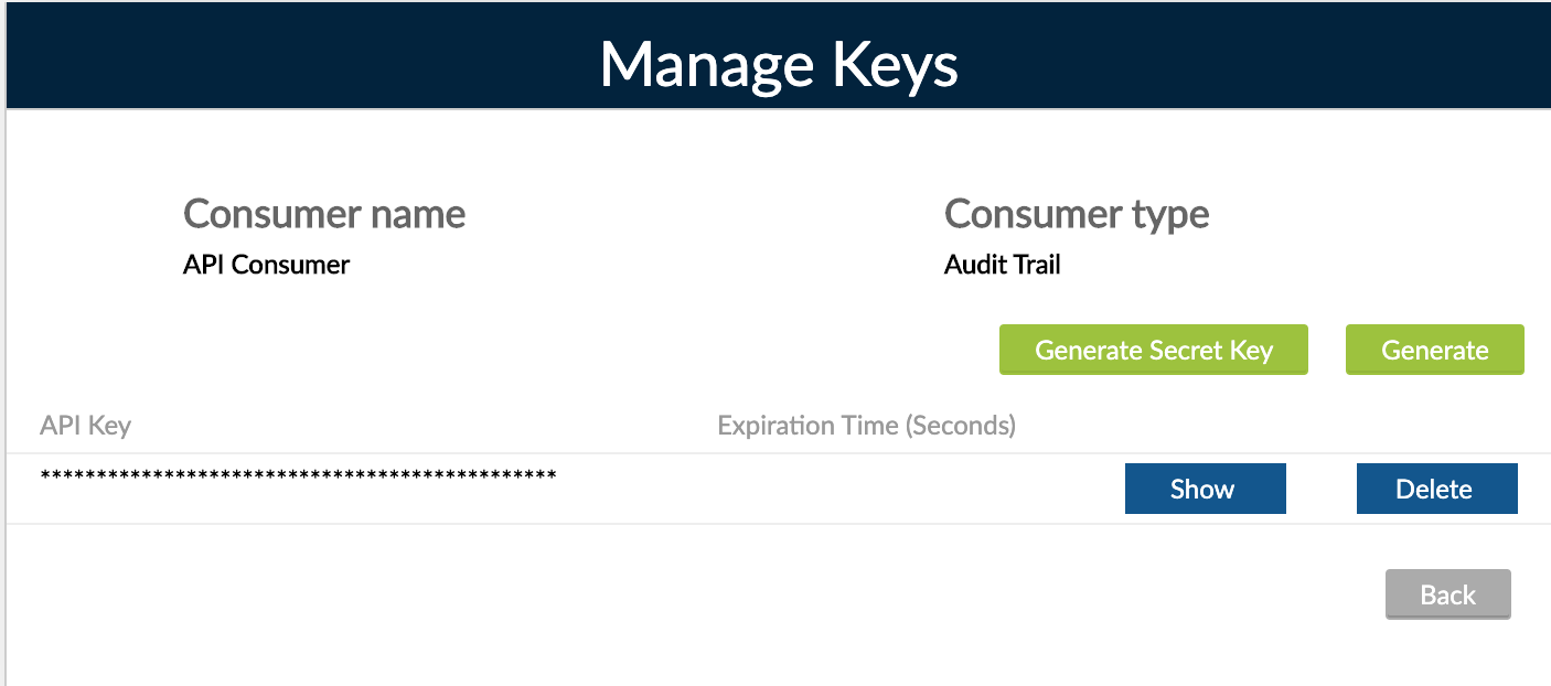 01 - API Consumers - Manage Keys - Secret Key