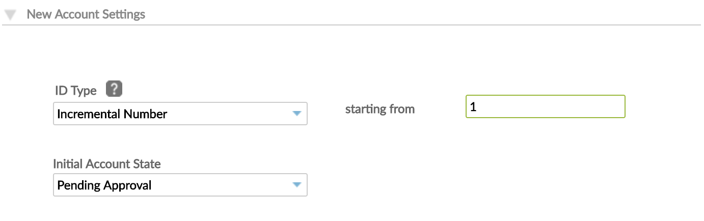 New Account Settings with ID Type set to Incremental Number