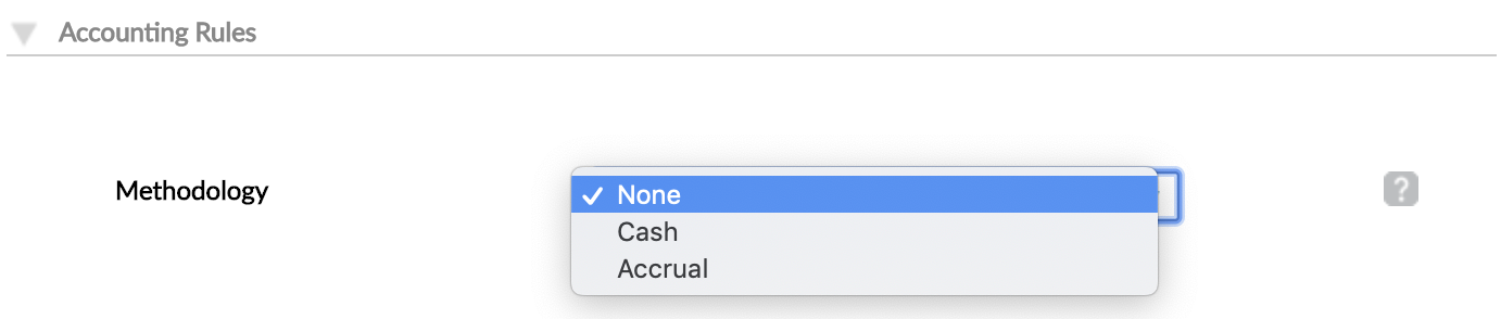 Accounting Rules - Methodology drop-down with None, Cash, Accrual options