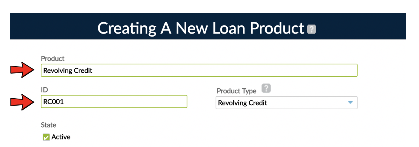 Product ID text area at loan product creation