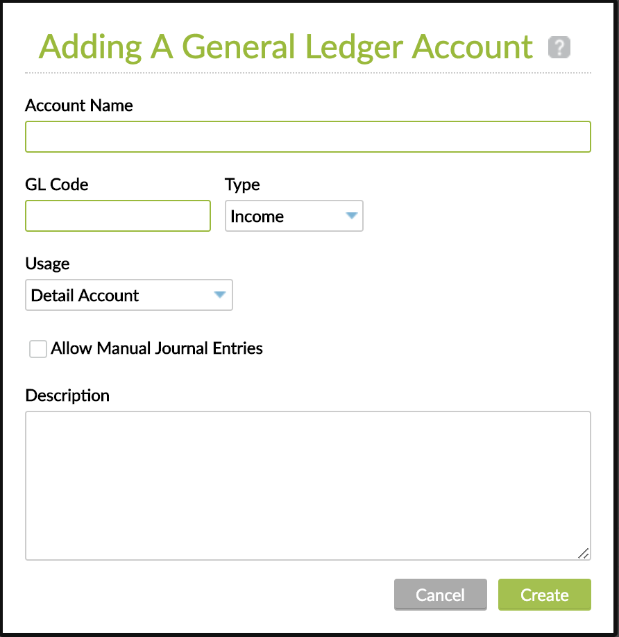 Adding a General Ledger Account with mandatory fields.