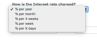 How is the interest rate charged? drop-down menu with options