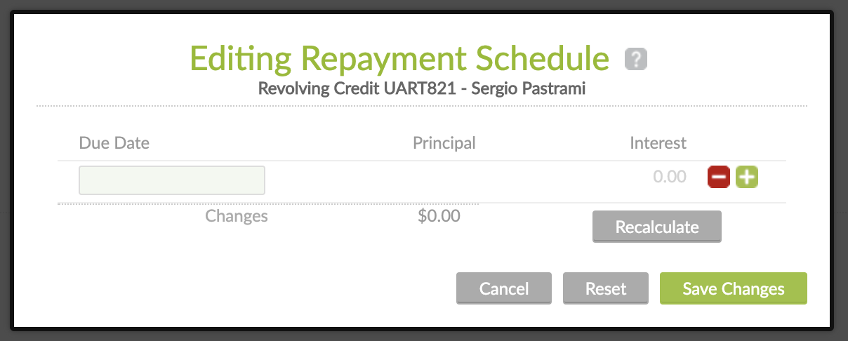 Editing Repayment Schedule on Revolving Credit while in Pending Approval state.