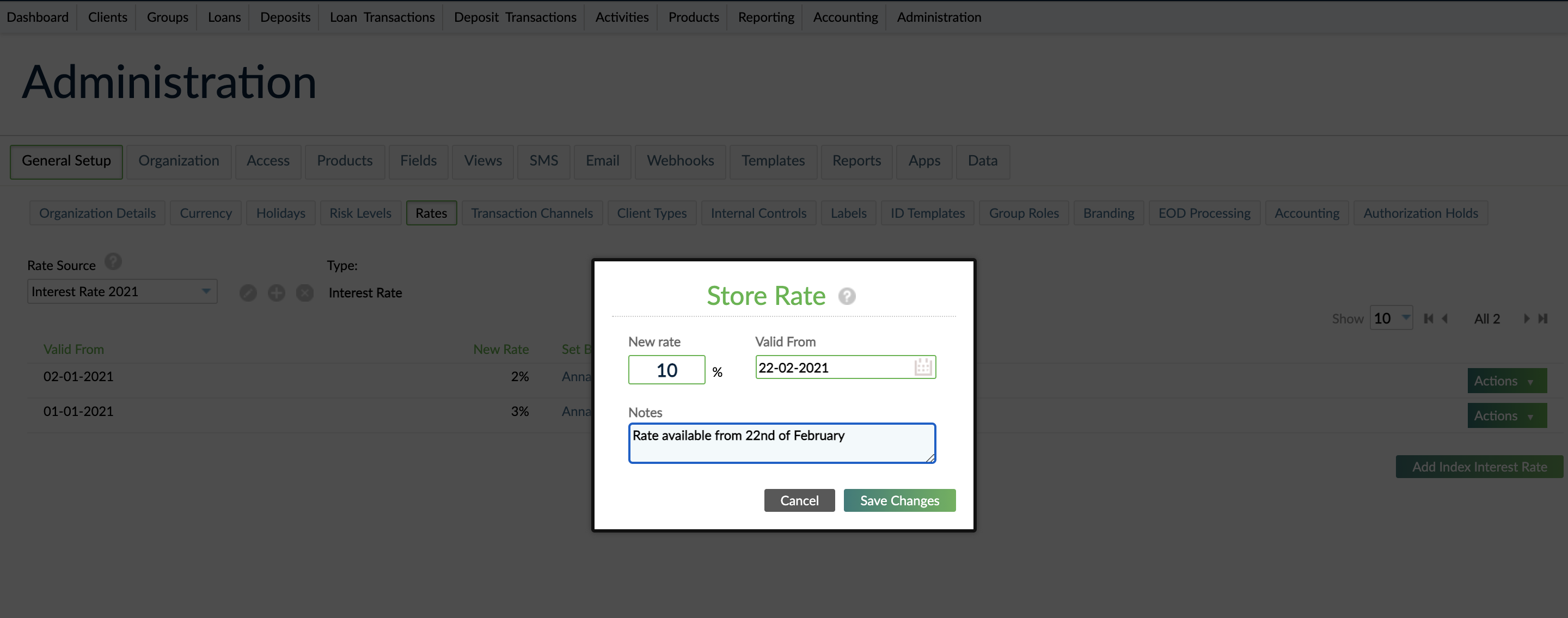 Index Rate Screen. All previous index interest rates are views on the main screen. By selecting the Add Index Interest Rate button a dialog will be displayed. In the dialog the fields New Rate and Valid From are mandory while the Notes text area is optional.