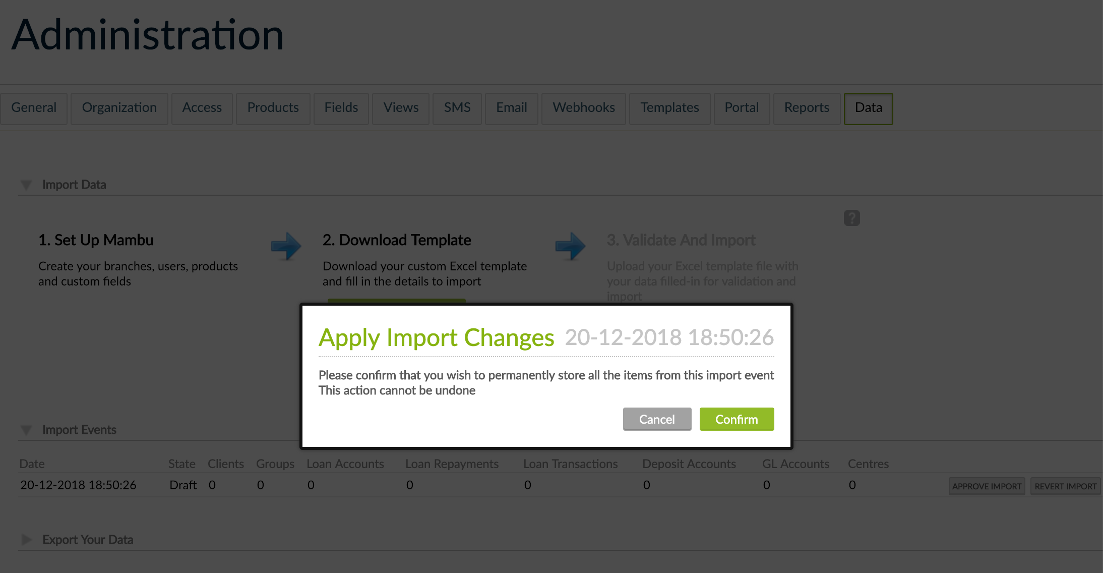 Apply Import Changes pop-up with Cancel and Confirm button