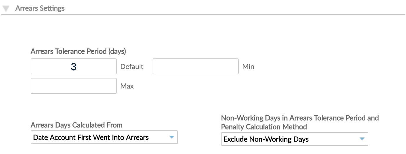Arrears settings - Non-Working Days method