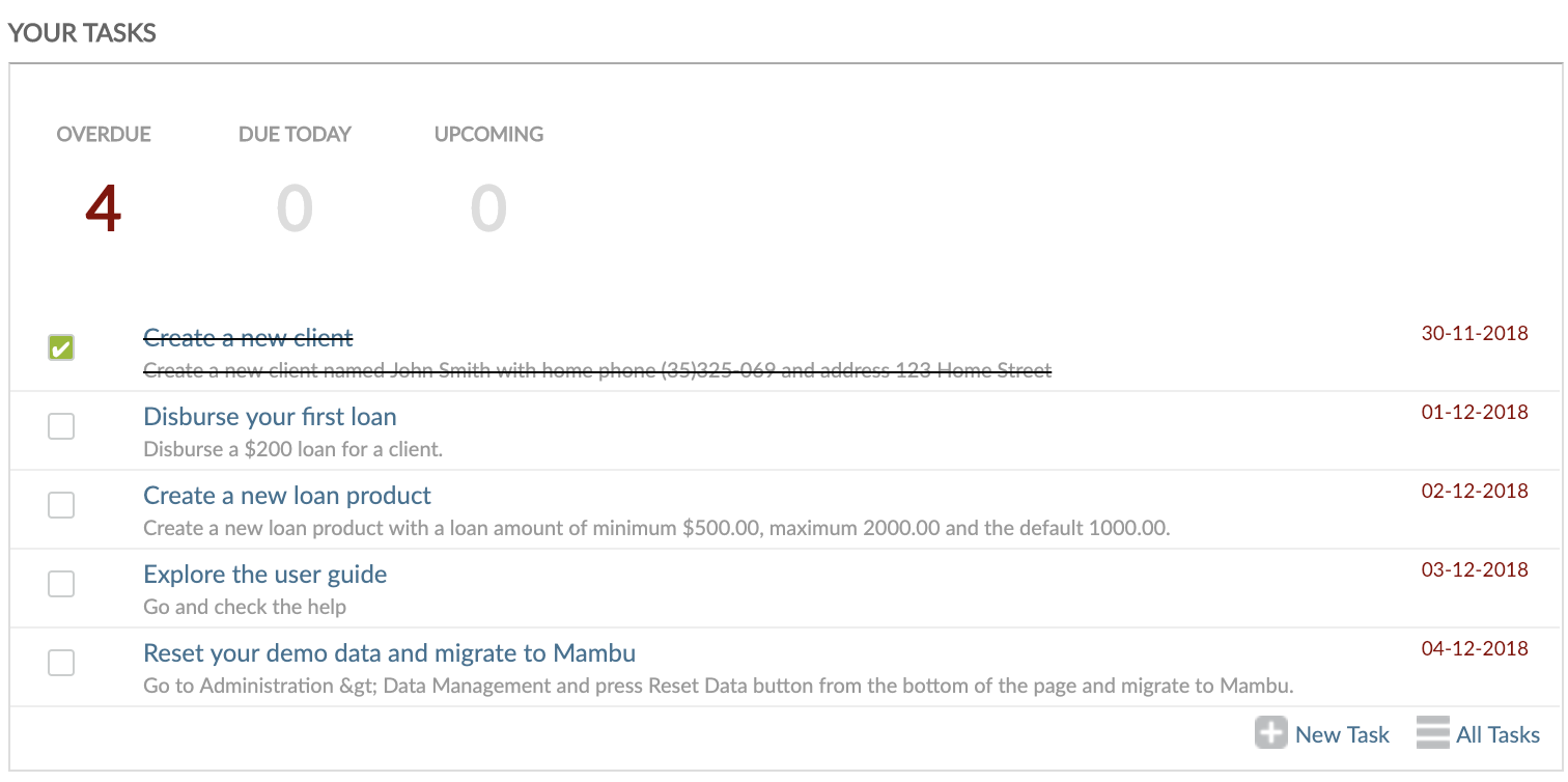Completing tasks from Dashboard view