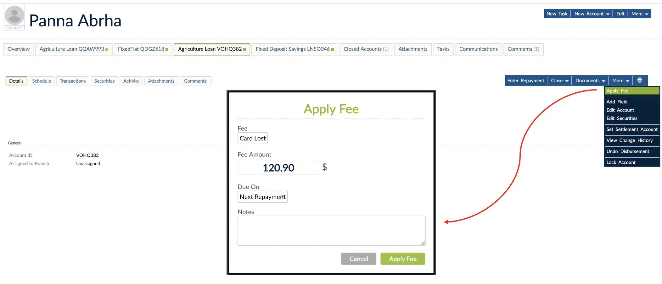 More dropdown with Apply Fee option and Apply fee pop-up.