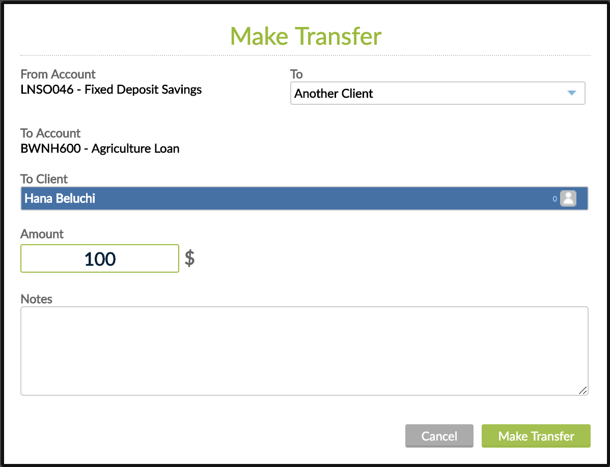 Make Transfer window - transfer is made into another client account.