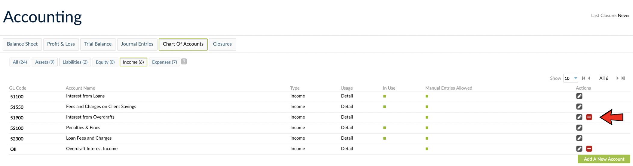 Delete GL Accounts - minus button found on each row