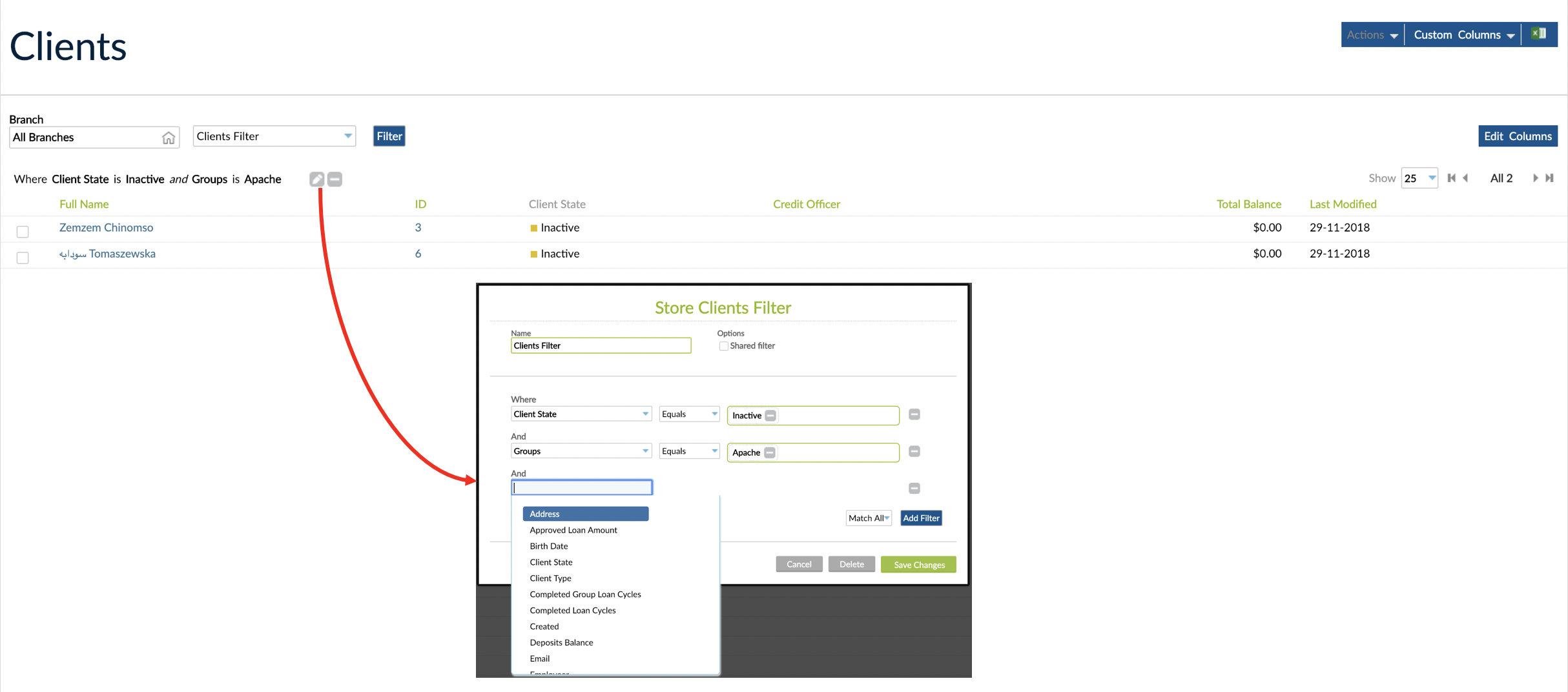 Custom Filter defined for Clients with Client State and Group