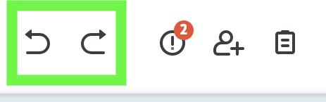 undo and redo button, shown in a green rectangle