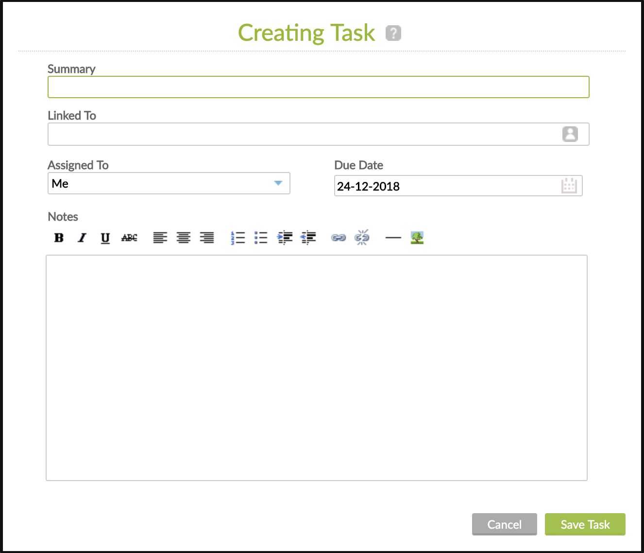 Creating Task form with Summary, Linked To, Assiged To, Due Date and Notes fields.
