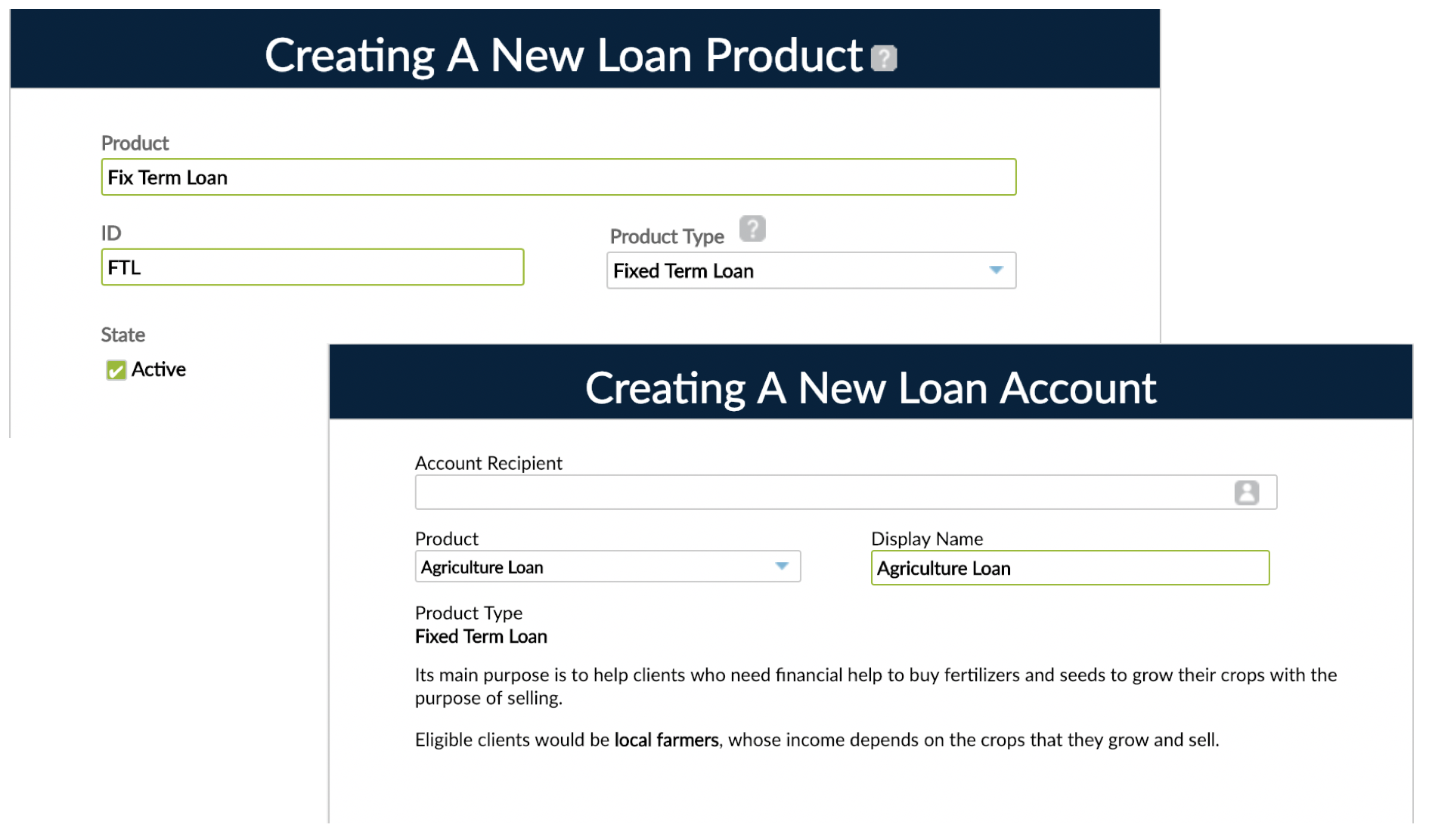 Loan Creation windows