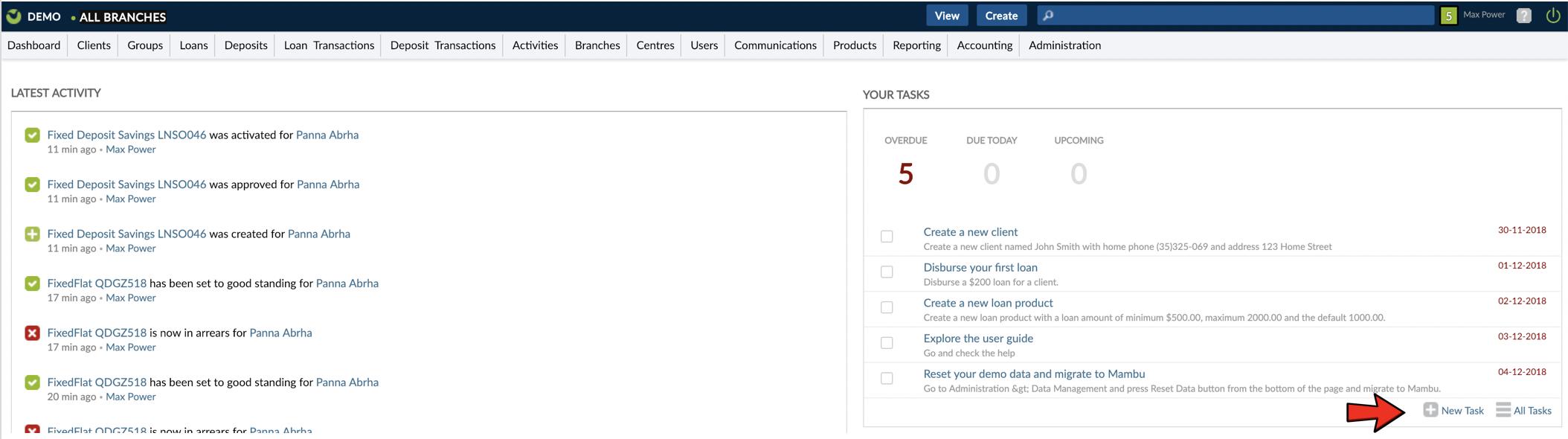 Create Task from Dashboard