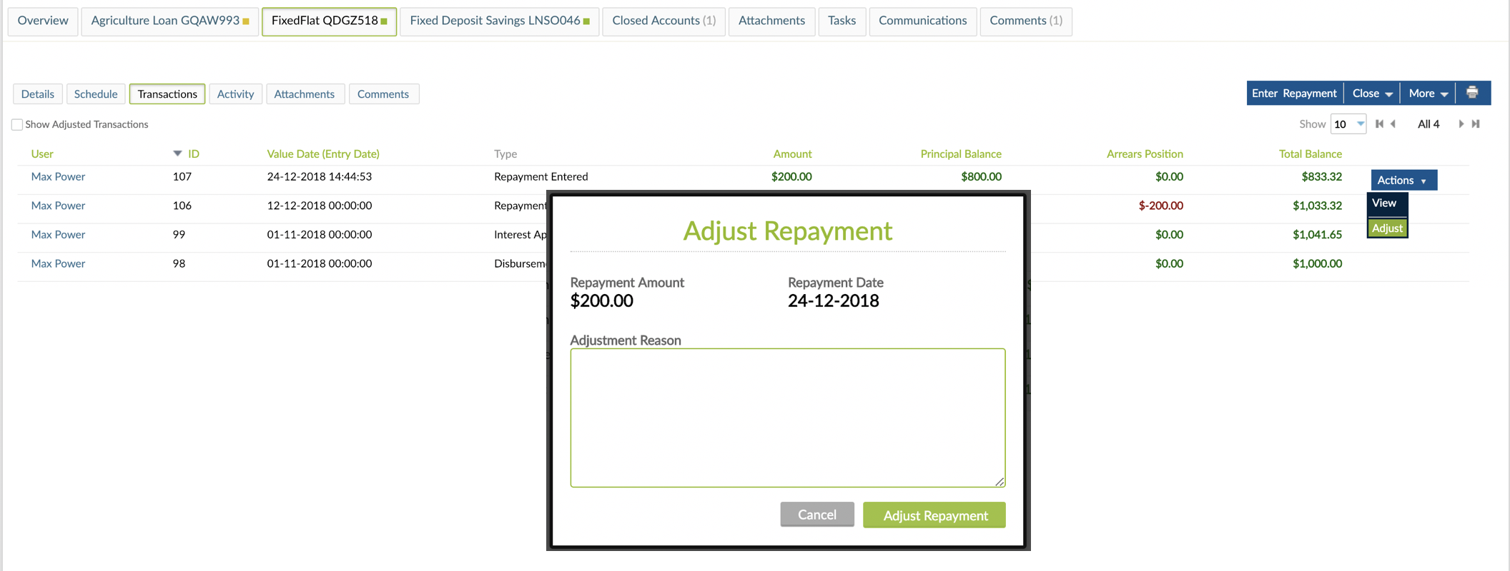 Actions button with Adjust option selected and Ajust Repayment pop-up