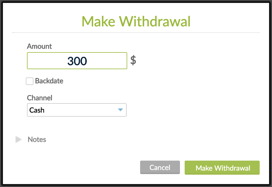 Make withdrawal pop-up with Cancel and Make Withdrawal buttons.