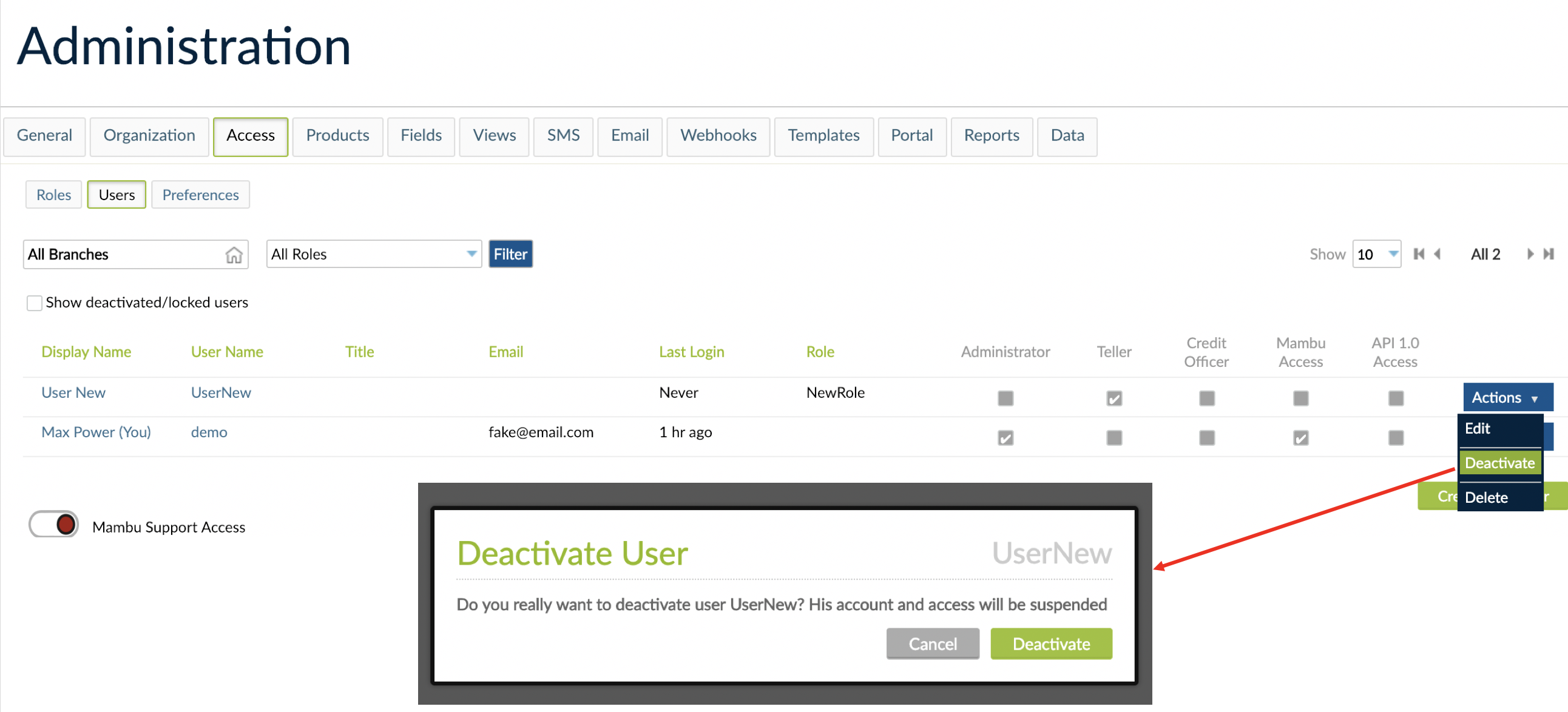 User deactivation and the related pop-ul that is displayed