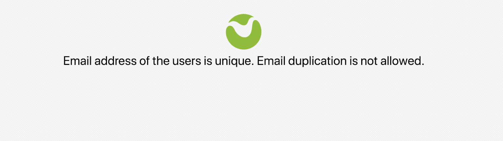 duplicate email address error message