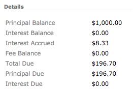 Accrued interest with zero balance offset account