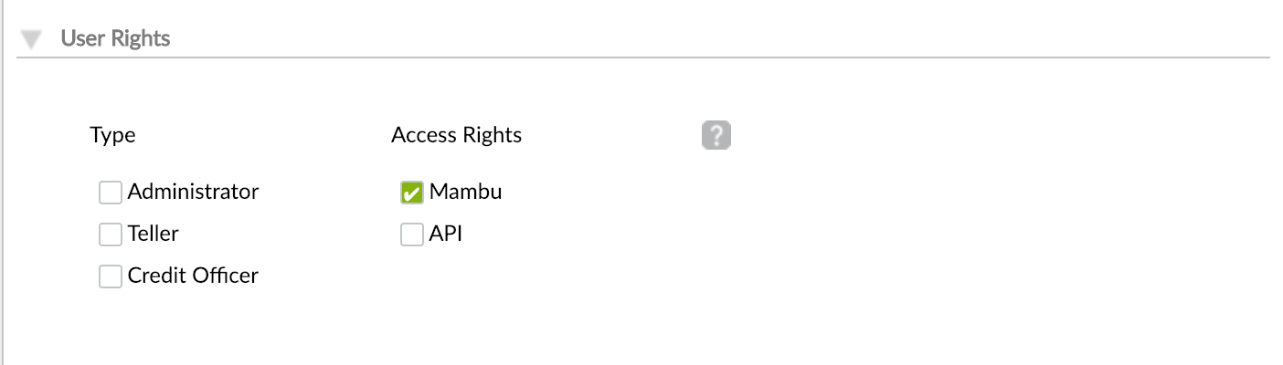User rights section from Create user view